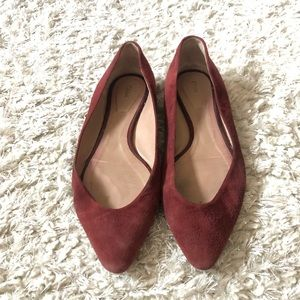 Chloe Red Ballet Flats Burgundy Suede Pointed Toe